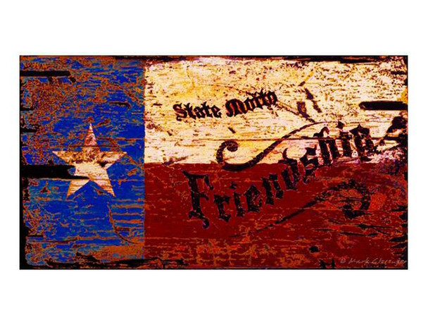 Custom Texas Flag Friendship Vintage Style Metal Sign