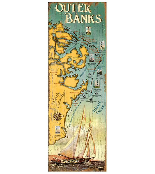 Custom Outer Banks Sailing Map Vintage Style Wooden Sign