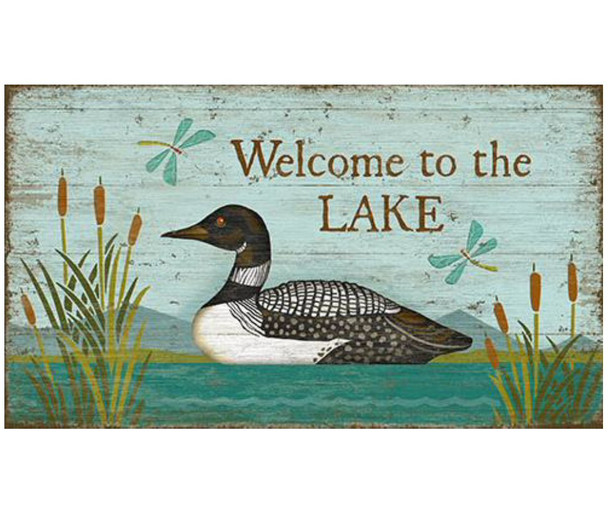 Custom Welcome to the Lake Loon Bird Vintage Style Wooden Sign