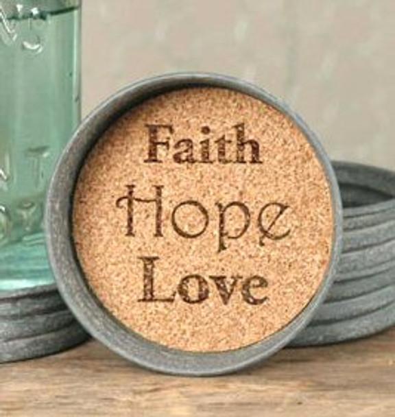 Barn Roof Faith Hope Love Mason Jar Lid Coasters, Set of 8