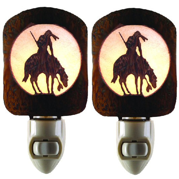 End of Trail Metal Night Lights, Set of 2