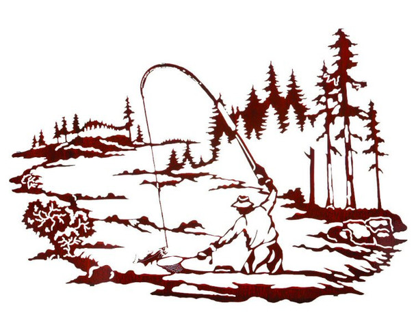 """30"""" North Fork Fly Fishing Metal Wall Art by Neil Rose"""