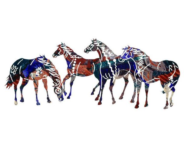 """30"""" Painted Ponies Metal Wall Art by Neil Rose"""