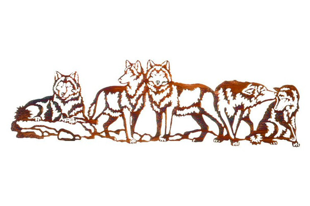 "30"" Pecking Order Wolves Metal Wall Art"