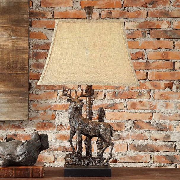 Standing Deer Resin Table Lamp with Burlap Shade