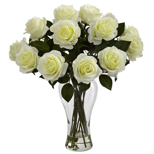 Blooming White Roses Silk Flower Arrangement with Vase