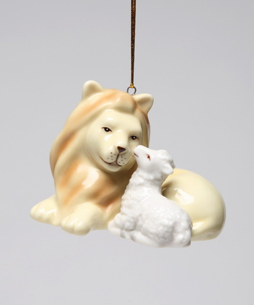 Peace Lion with Lamb Christmas Tree Ornaments, Set of 4