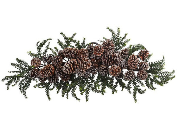 """28"""" Iced Pine Cone Swag"""