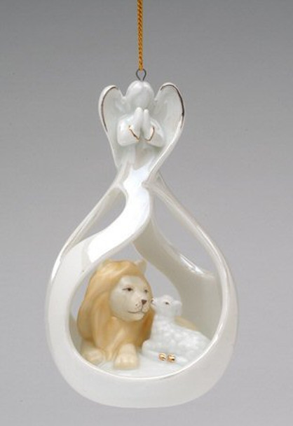 Angel Eternal Peace Lion and Lamb Christmas Tree Ornaments, Set of 4