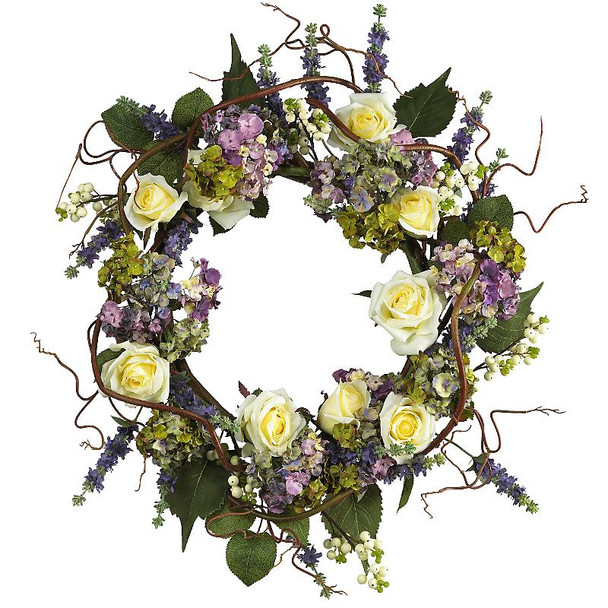 "24"" Hydrangea Rose Wreath"