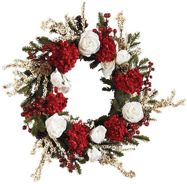 "24"" Hydrangea with White Roses Wreath"