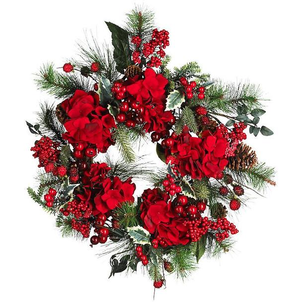 "22"" Hydrangea Holiday Wreath"