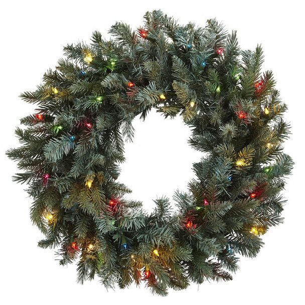 """30"""" Pine Silk Wreath with Colored Lights"""