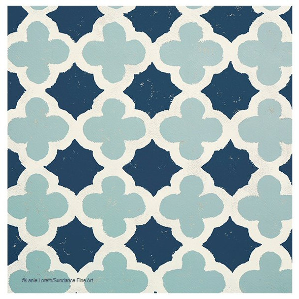 Blue Lattice Pattern Absorbent Coasters by Lanie Loreth, Set of 12