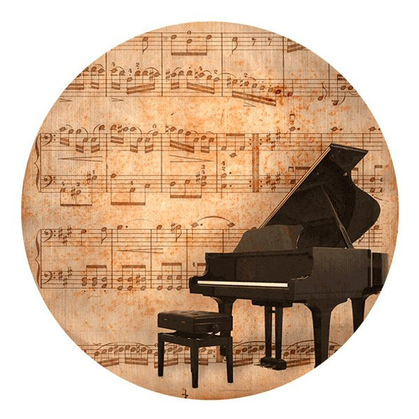 Antique Piano Sandstone Round Beverage Coasters, Set of 8