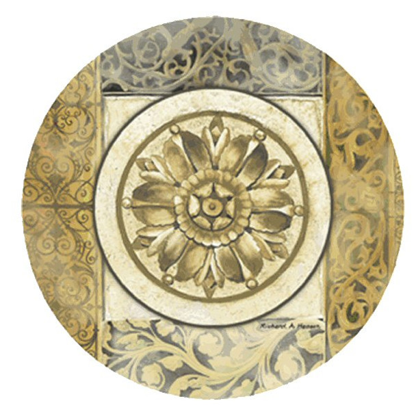Architectural Rosette Sandstone Coasters by Richard Henson, Set of 8