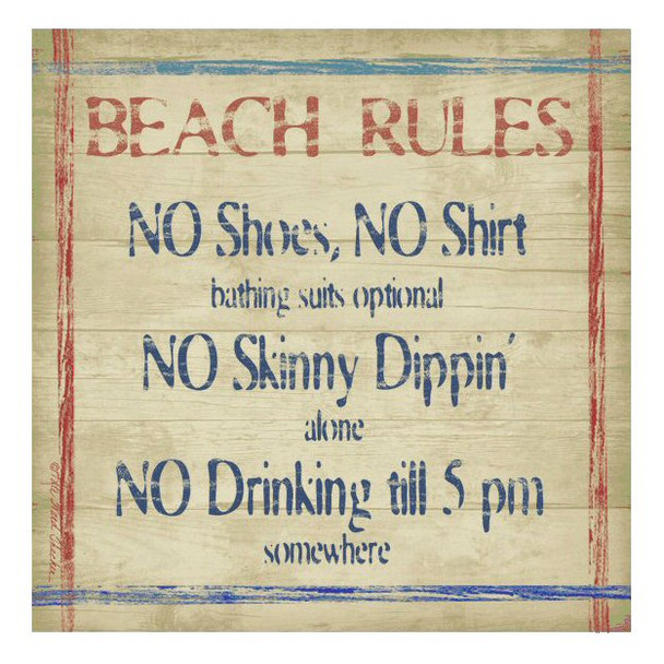 Beach Rules Absorbent Beverage Coasters by Kate Ward Thacker, Set of 8