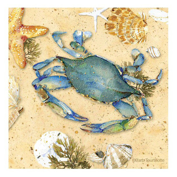Blue Crab II Beverage Coasters by Barb Tourtillotte, Set of 8