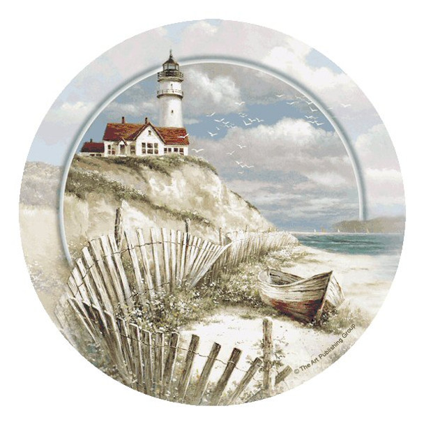 Beach Lighthouse Round Coasters by The Art Publishing Group, Set of 8