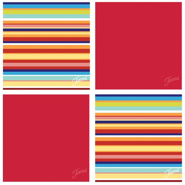 Fiesta Scarlet Multi Stripe Absorbent Beverage Coasters, Set of 8