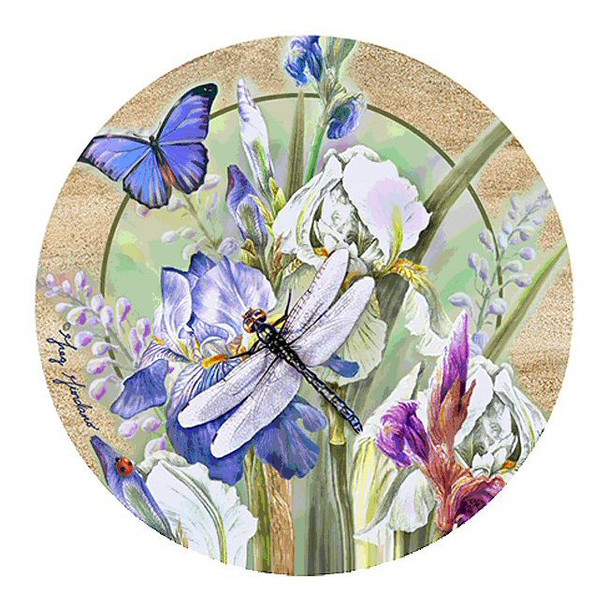 Dragonfly & Iris I Sandstone Beverage Coasters by Greg & Co, Set of 8