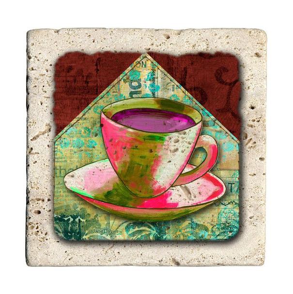 Coffee Colors Travertine Stone Beverage Coasters, Set of 8