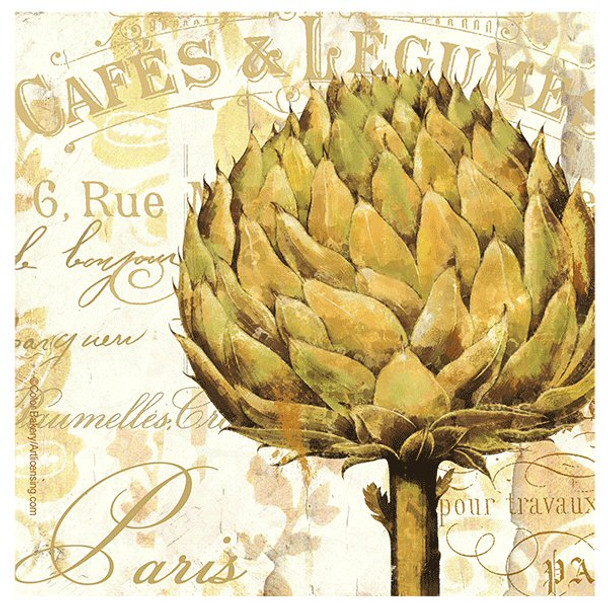 Cafe d'Or II Artichoke Absorbent Coasters by Color Bakery, Set of 8