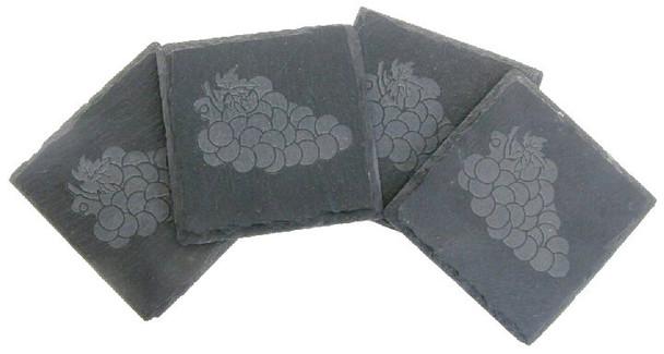 Etched Grapes Natural Slate Beverage Coasters, Set of 8