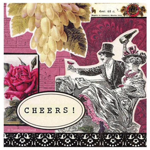 Cheers Absorbent Beverage Coasters by Tamara Holland, Set of 8