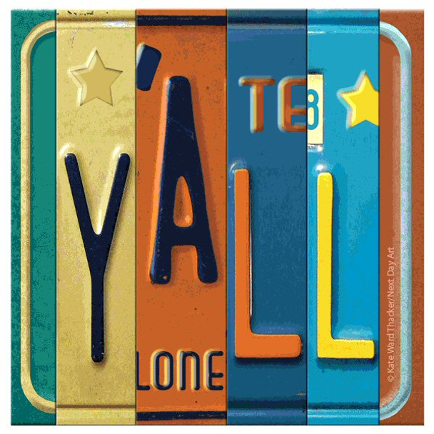 Y'all License Plates Beverage Coasters by Kate Ward Thacker, Set of 8