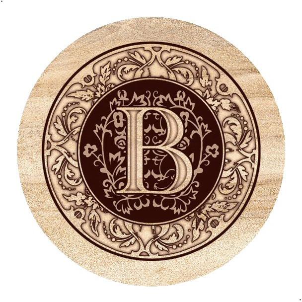 Monogram B Sandstone Beverage Coasters, Set of 4