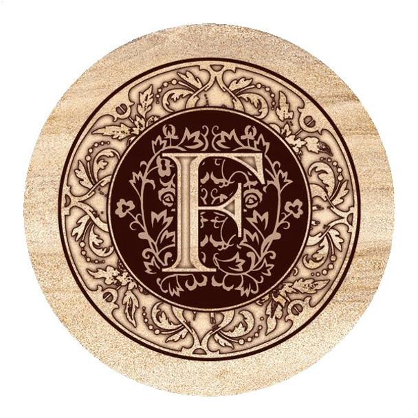 Monogram F Sandstone Beverage Coasters, Set of 4