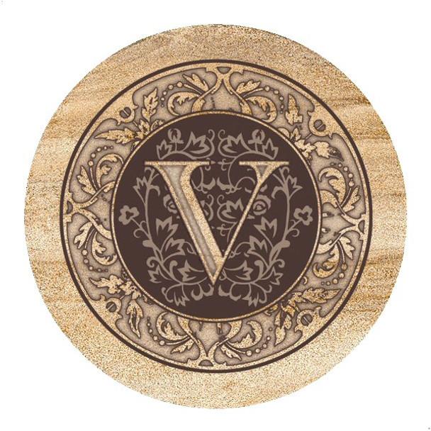 Monogram V Sandstone Beverage Coasters, Set of 4