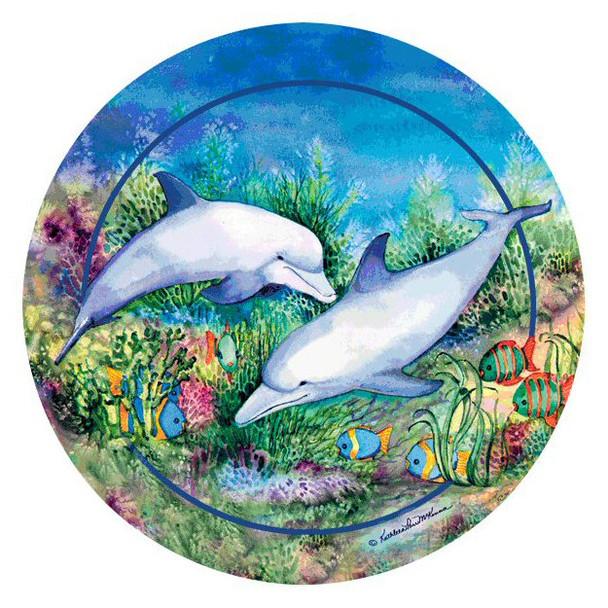 Dolphin Duo Round Beverage Coasters by Kathleen Parr McKenna, Set of 8