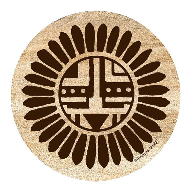 Traditional Sunface Sandstone Coasters by Bindrune Design, Set of 8