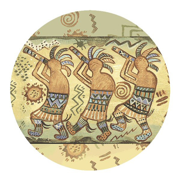 Kokopelli Dance Sandstone Round Coasters by Donna Polivka, Set of 8