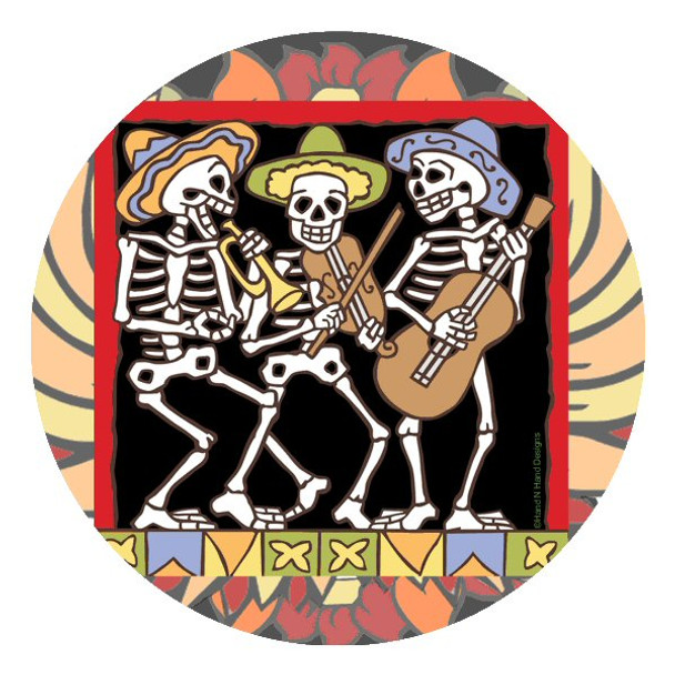 The Band Skeletons Round Coasters by Hand N Hand Designs, Set of 8