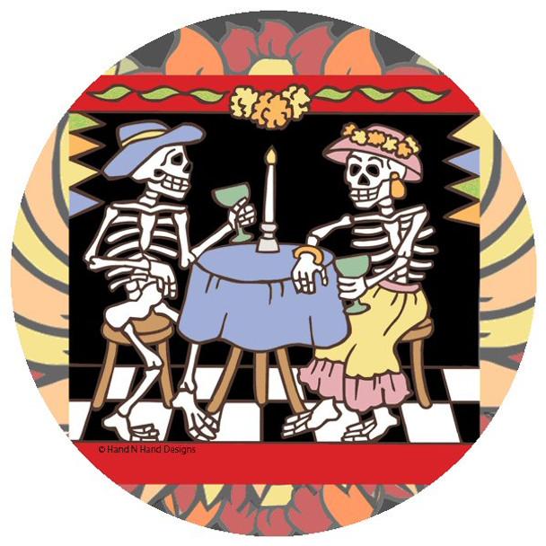 Dining Skeletons Beverage Coasters by Hand N Hand Designs, Set of 12