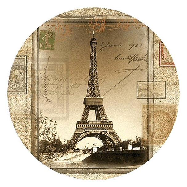 Eiffel Tower Sandstone Round Beverage Coasters, Set of 8