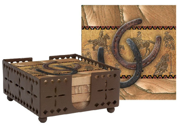 Horseshoes Cinnabar Sandstone Coasters with Steel Holder, Set of 10