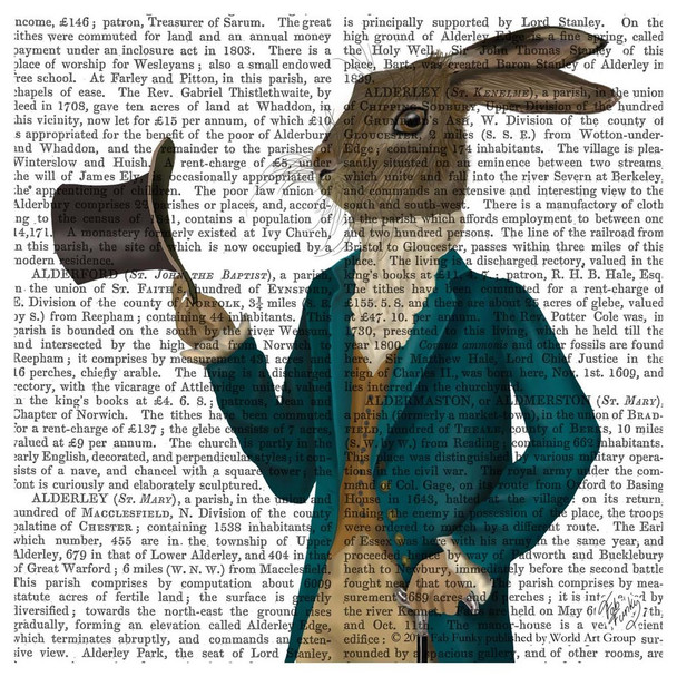 Hare in Turquoise Coat Print Absorbent Beverage Coasters, Set of 12