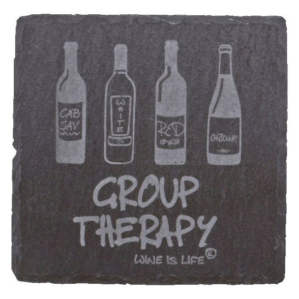 Etched Group Therapy Natural Slate Beverage Coasters, Set of 8