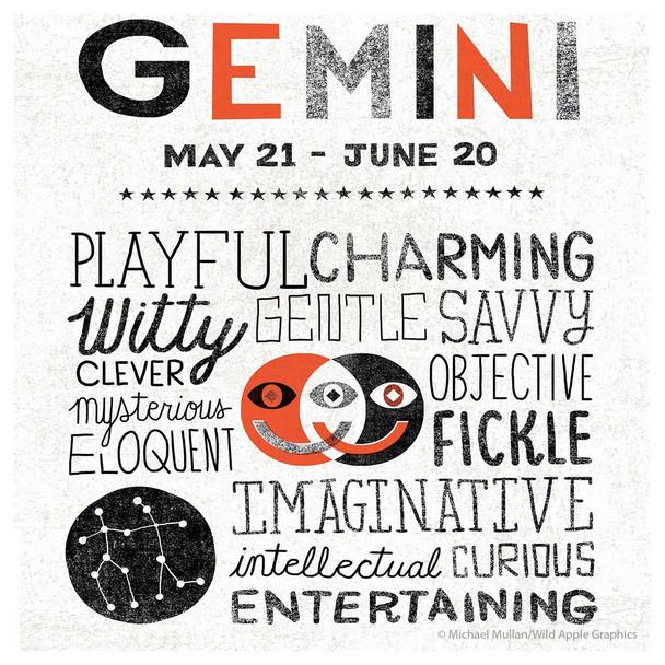 Gemini Zodiac Absorbent Beverage Coasters, Set of 12