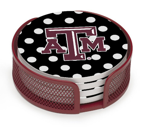 Texas A&M Aggies Dots Beverage Coasters w/Mesh Holders, Set of 10