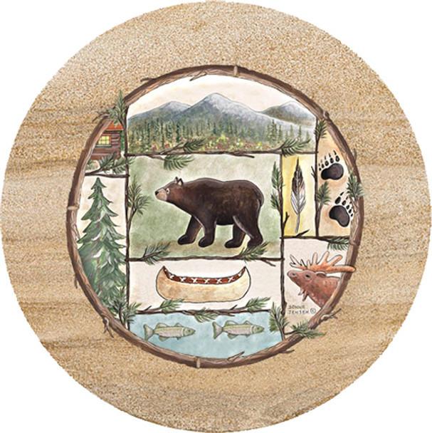 Cabin Fever Roaming Bear Sandstone Trivet, Set of 2