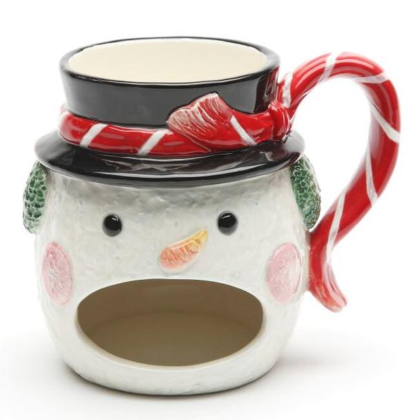 Rosy Cheek Snowman Porcelain Mugs, Set of 4