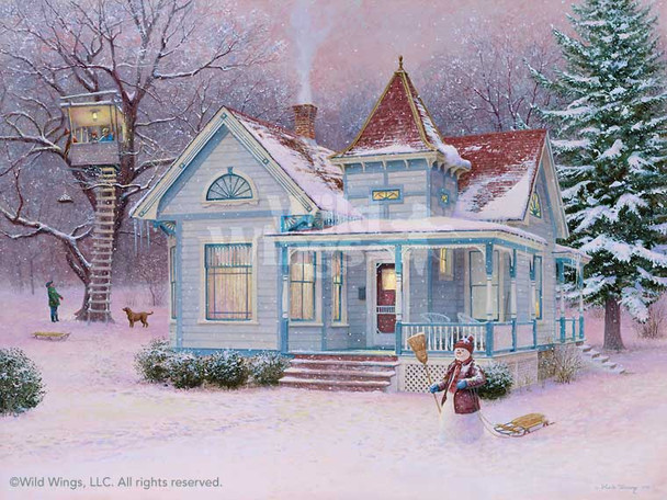 Winter Fortress with Snowman Limited Edition Art Print Wall Art