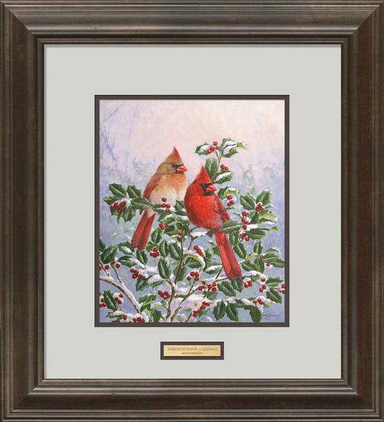 Winter's Splendor Cardinal Birds Sitting in Holly Framed Art Print Wall Art