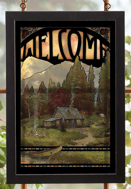 Welcome Evening Majesty Cabin and Canoe Stained Glass Wall Art