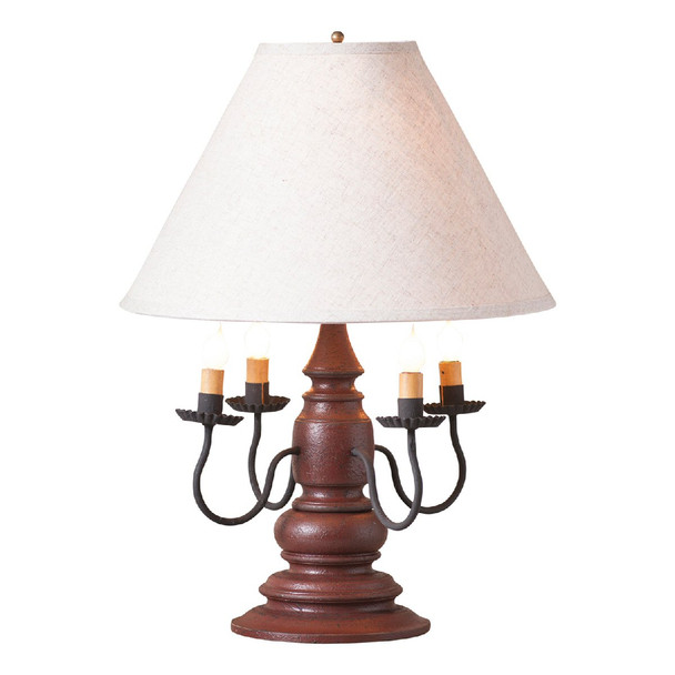 Americana Plantation Red Harrison Wood and Metal Table Lamp with Linen Shade